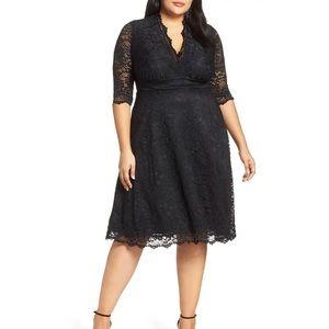 Kiyonna Mademoiselle black lace a line dress